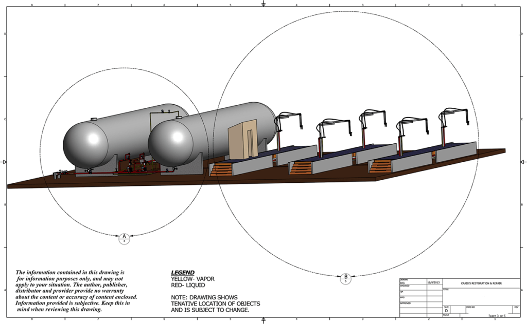 Facility layout 3, top-front view angled